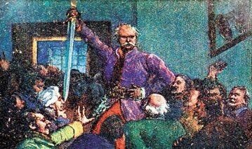"""Księga VII """"Rada"""". Ilustracja do """"Pana Tadeusza"""" Adama Mickiewicza z publikacji jubileuszowej. H. Francka Synowie 1934"""