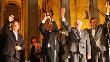 Lech Kaczyński z prezydentami państw bałtyckich i Ukrainy w Tbilisi