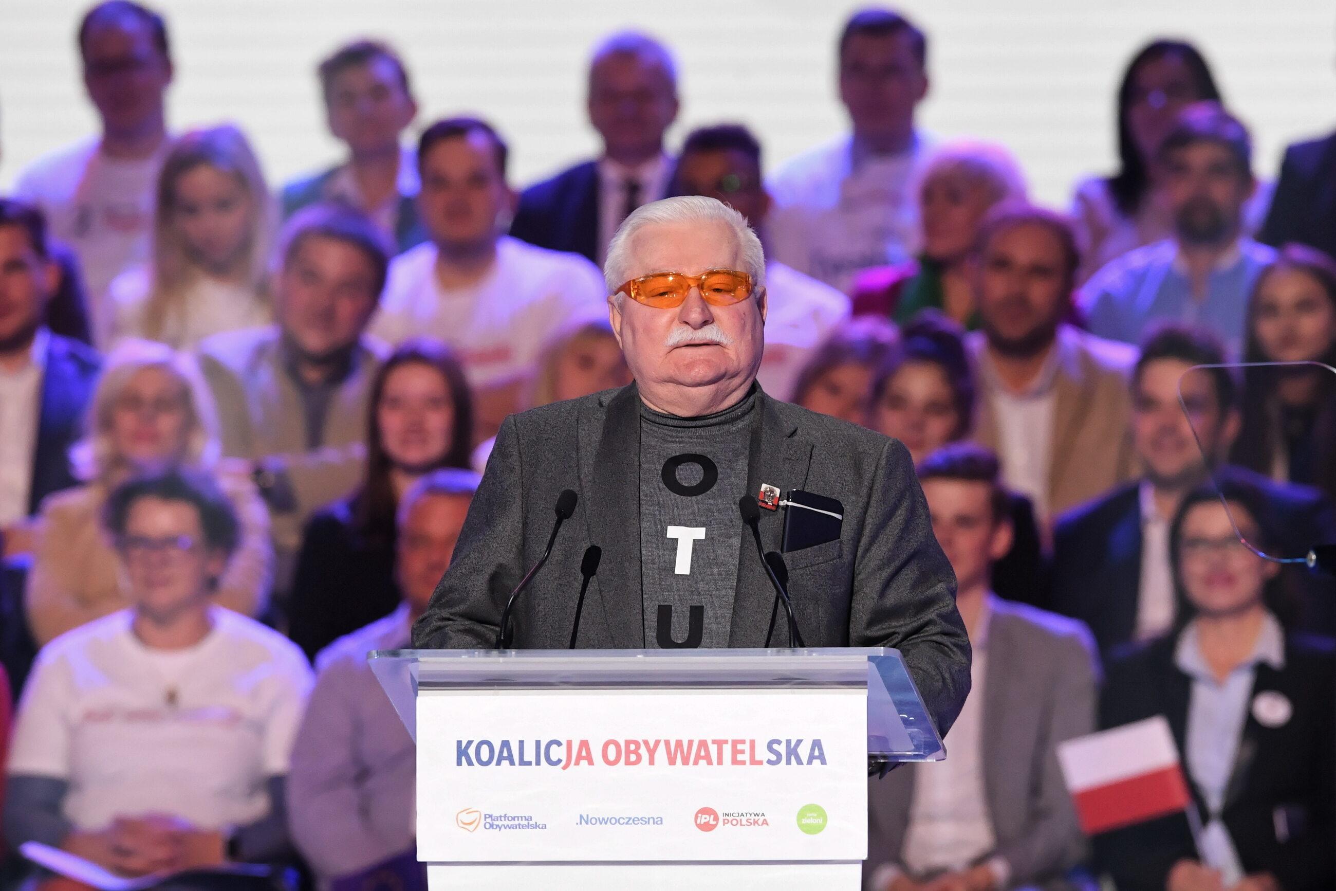 Lech Wałęsa na konwencji Koalicji Obywatelskiej