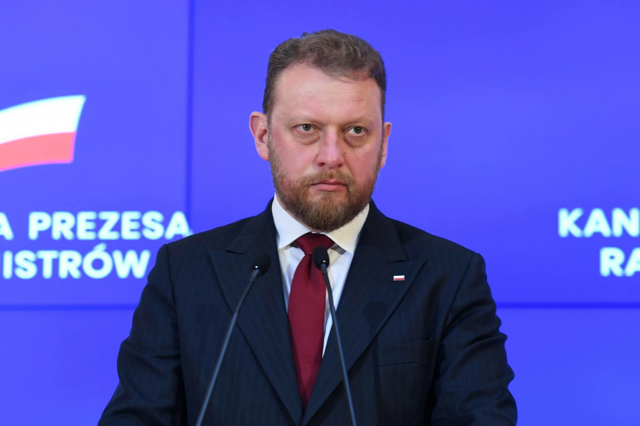 Łukasz Szumowski podczas konferencji w KPRM