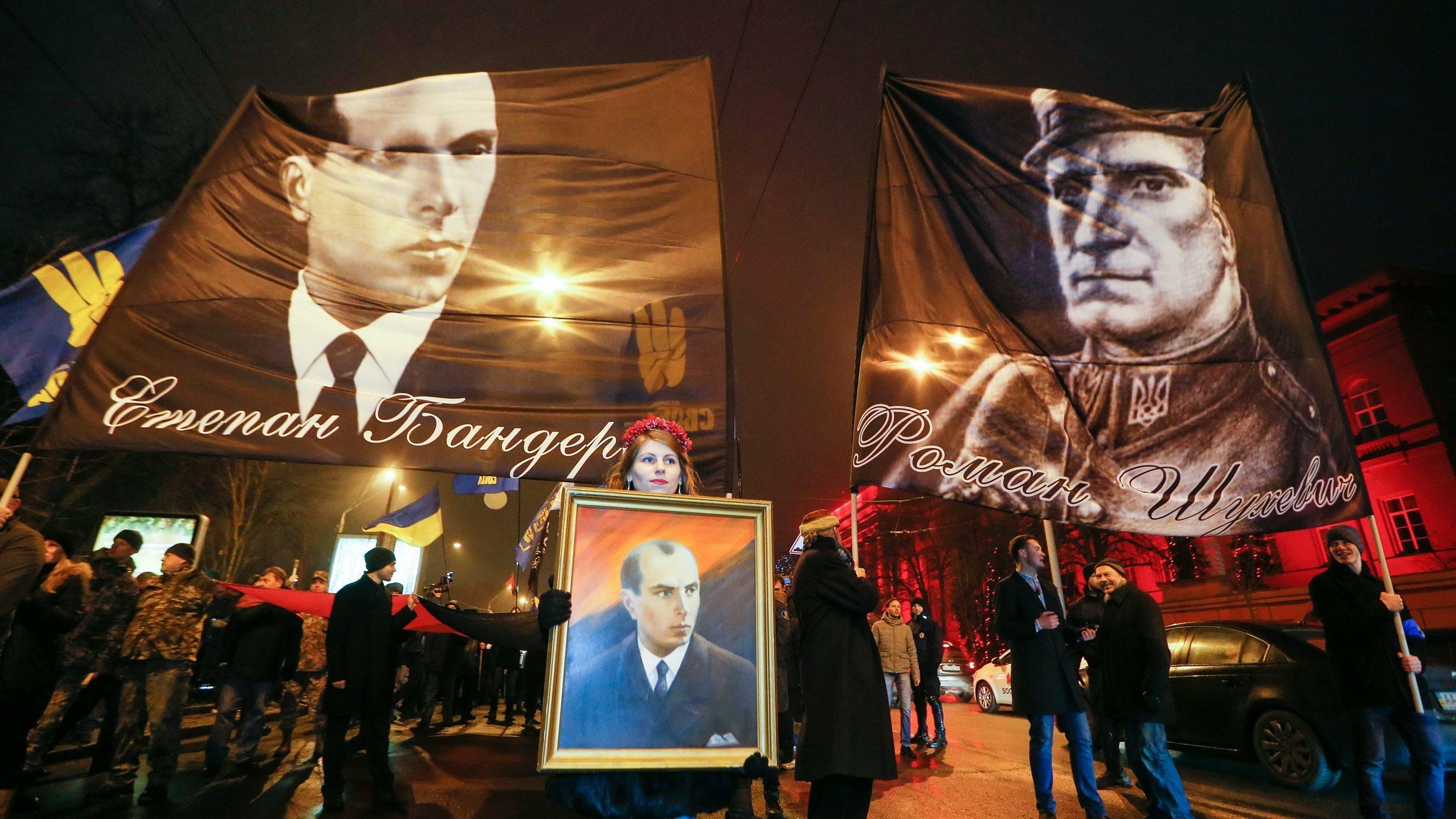 Manifestacja z okazji urodzin Stepana Bandery