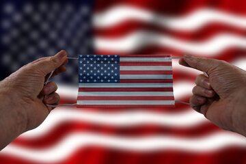 Maseczka w barwach USA, zdjęcie ilustracyjne