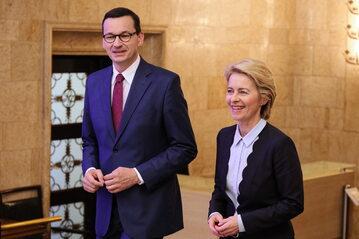 Mateusz Morawiecki i Ursula von der Leyen w KPRM