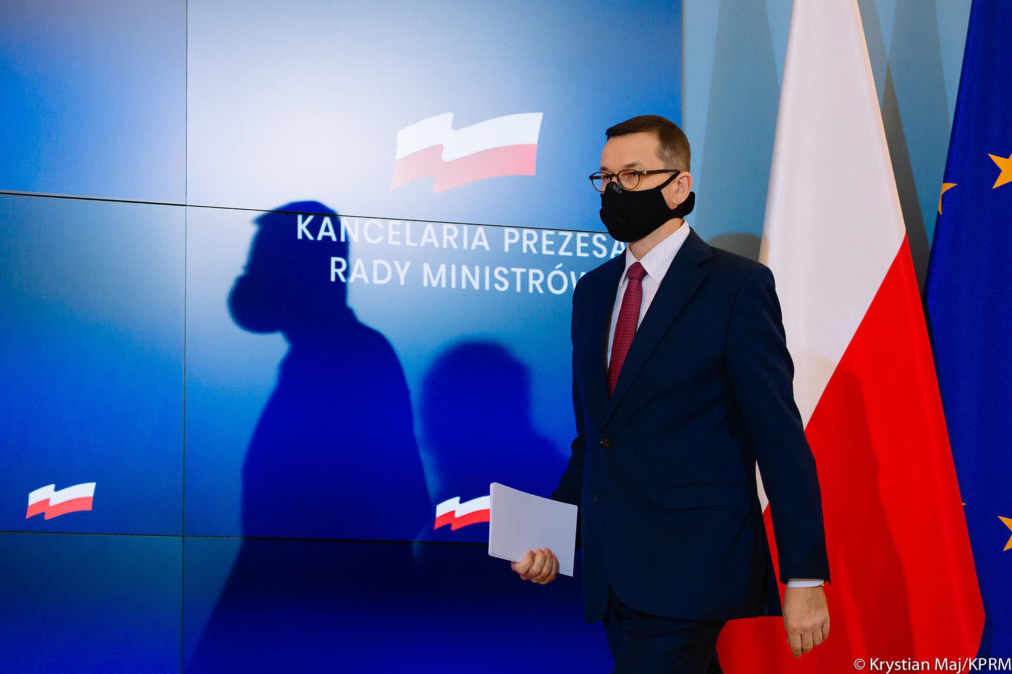 Mateusz Morawiecki podczas konferencji w KPRM