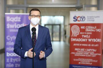 Mateusz Morawiecki podczas wizyty w Świętokrzyskim Centrum Onkologii