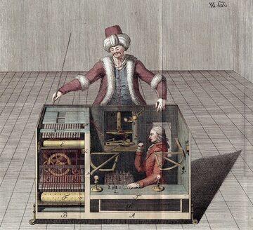 Mechaniczny Turek, rys. Joseph Racknitz