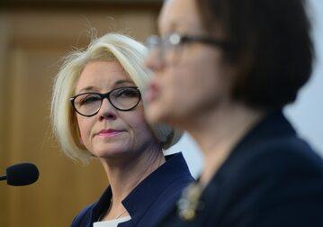 Minister edukacji narodowej Anna Zalewska i posłanka PiS Marzena Machałek