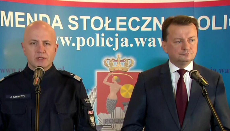 Minister Mariusz Błaszczak i komendant główny policji Jarosław Szymczyk