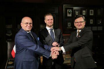 Minister spraw zagranicznych RP Zbigniew Rau, minister spraw zagranicznych Ukrainy Dmytro Kułeba i minister spraw zagranicznych Litwy Gabrielius Landsbergis