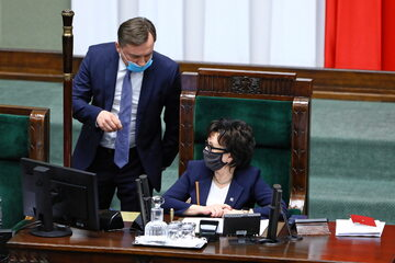 Minister sprawiedliwości Zbigniew Ziobro i marszałek Sejmu Elżbieta Witek