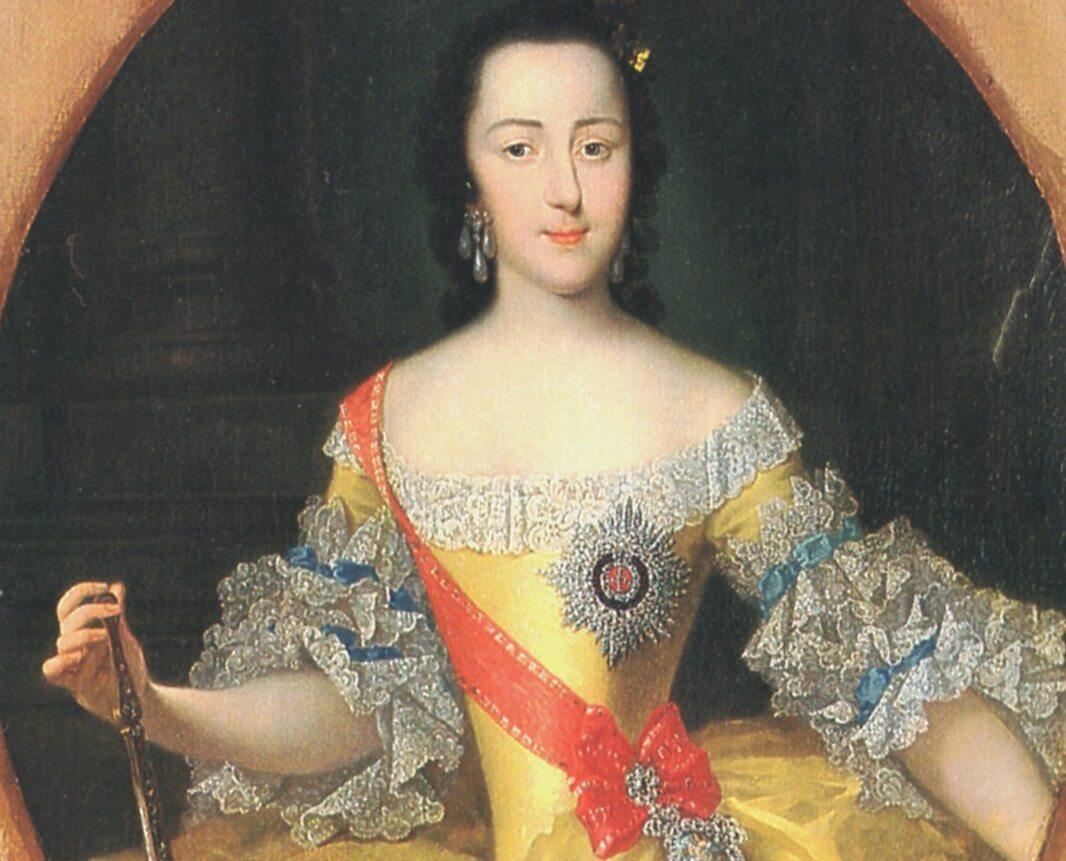 Młoda Zofia von Anhalt-Zerbst (przyszła Katarzyna II) na obrazie Georga Christopha Grootha (ok. 1745 r)