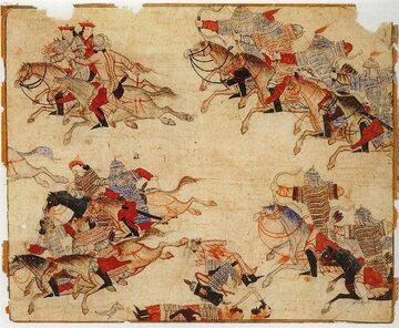 Mongolscy jeźdźcy ścigają pokonanych przeciwników. Ilustracja, XIV wiek
