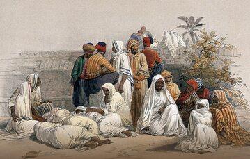 Muzułmanie dłużej niż Europejczycy i Amerykanie utrzymywali niewolnictwo. Na ilustracji z 1849 r.: targ niewolników w Kairze