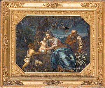 Najcenniejszy element kolekcji – dwustronny obraz będący własnością Jana III Sobieskiego. Z prawej: portret Marii Radziwiłł