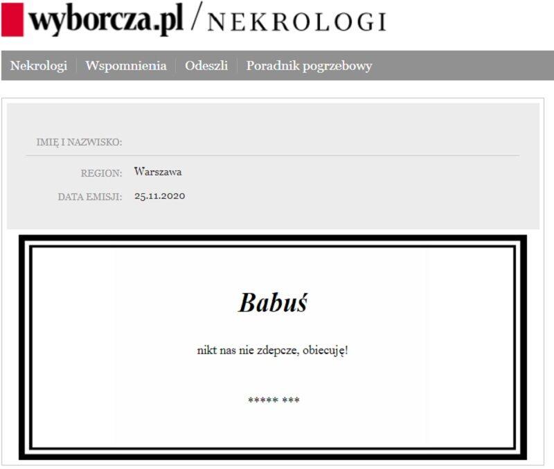 """Nekrolog zamieszczony w """"Gazecie Wyborczej"""""""