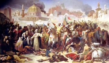 """Obraz """"Zdobycie Jerozolimy przez Krzyżowców, 15 lipca 1099"""" Émile'a Signola"""