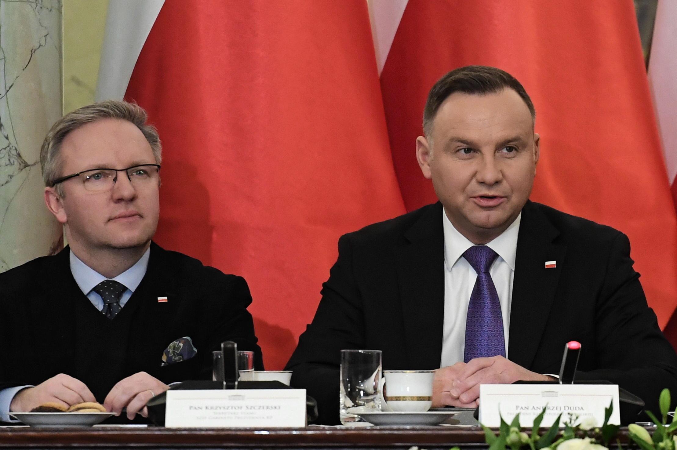 Od lewej: Krzysztof Szczerski i Andrzej Duda w Pałacu Prezydenckim
