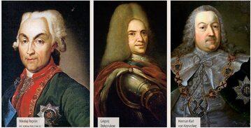 Od lewej: Nikołaj Repnin, Grigorij Dołgorukow i Herman Karl von Keyserling