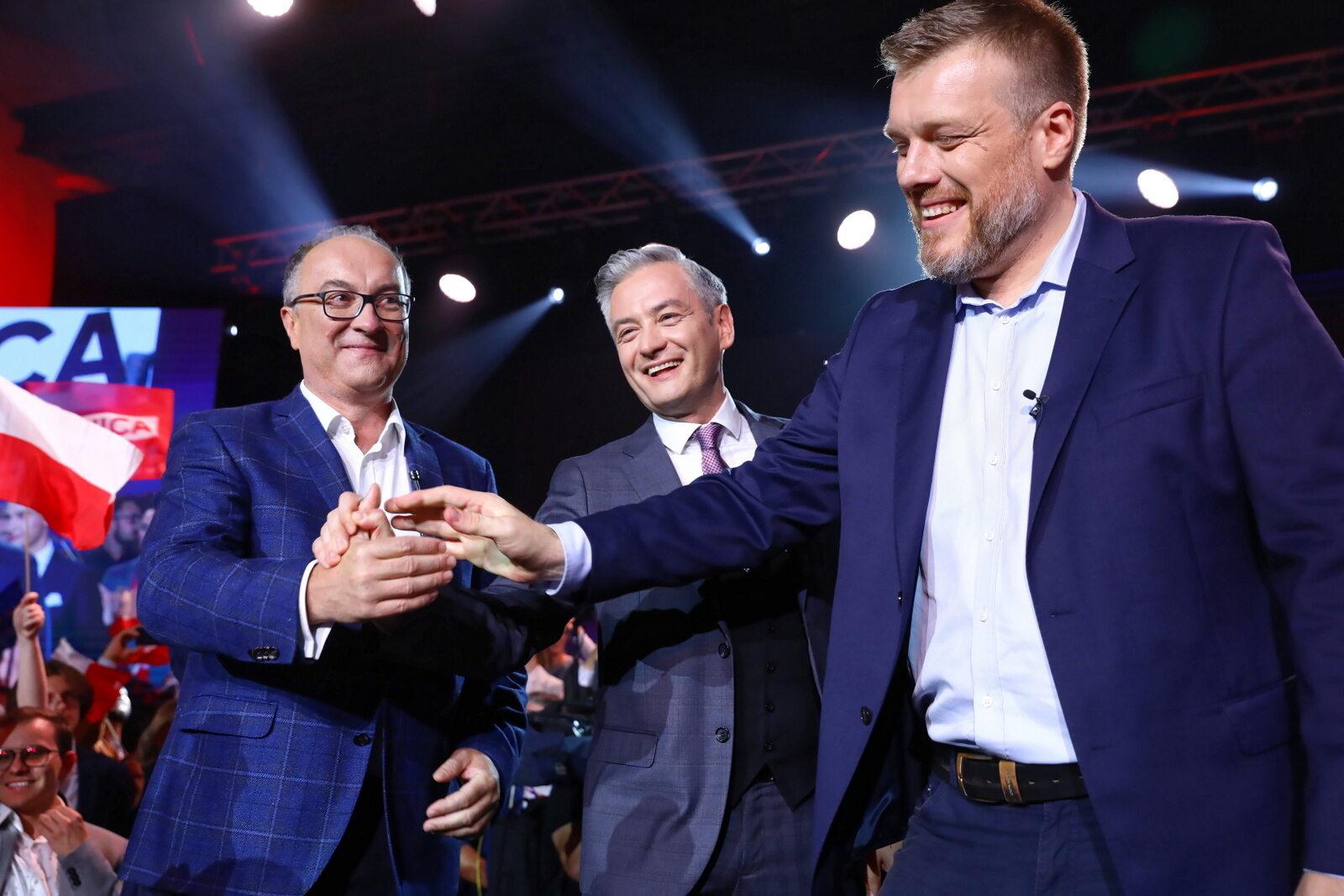 Od lewej: Włodzimierz Czarzasty, Robert Biedroń i Adrian Zandberg