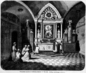 Ostra Brama w drugiej połowie XIX wieku. Rysunek z Tygodnika Ilustrowanego