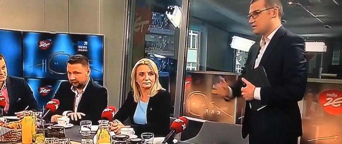 Paweł Szefernaker w studio Radio Zet i Polsat News