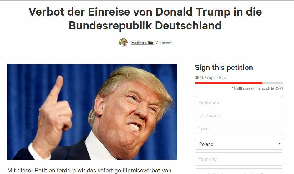 Petycja ws. Donalda Trumpa na stronie change.org