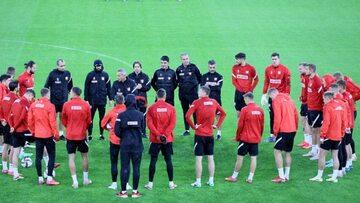 Piłkarze reprezentacji Polski podczas treningu kadry w Tiranie