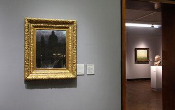 Plac Wittelsbachów w Monachium w nocy (obraz Aleksandra Gierymskiego) na wystawie w Muzeum Narodowym w Warszawie.