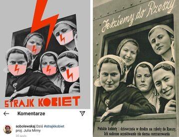 Plakat wykorzystany przez Strajk Kobiet to propaganda III Rzeszy