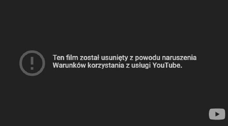 Po kilku dniach od premiery filmu, dzisiaj serwis Youtube usunął go ze swojej strony. Do tego czasu obejrzało go ponad 60 tys. osób.