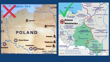 Po lewej: mapa Polski przedstawiona w serialu Netflixa. Po prawej: mapa udostępniona przez MSZ