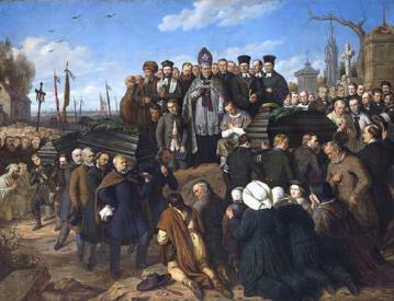 Pogrzeb pięciu poległych. Obraz Aleksandra Lessera z 1861 roku.