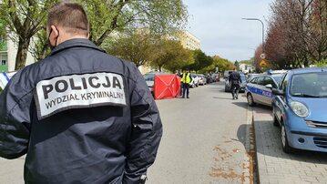 Policjanci na miejscu tragedii w Raciborzu