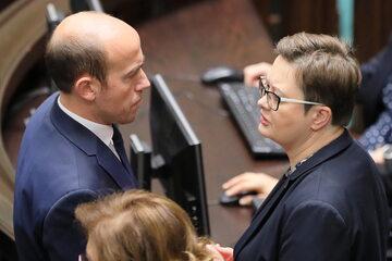 Posłowie Koalicji Obywatelskiej Borys Budka (L) i Katarzyna Lubnauer (P) w Sejmie