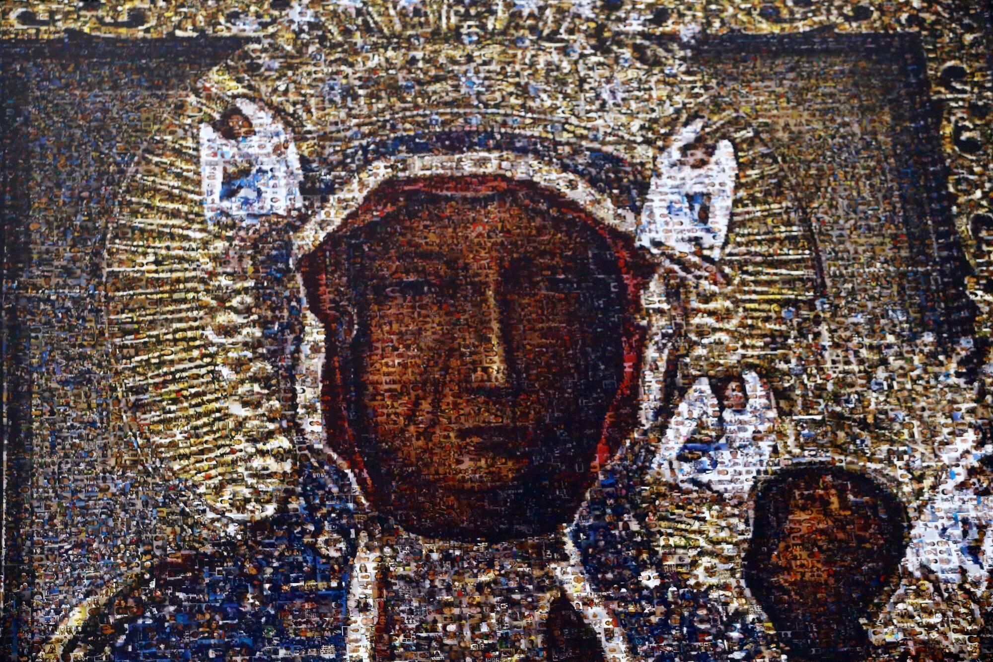 Powstały z ok. 14 tysięcy zdjęć wizerunek Matki Bożej Częstochowskiej umieszczony na jasnogórskich murach.