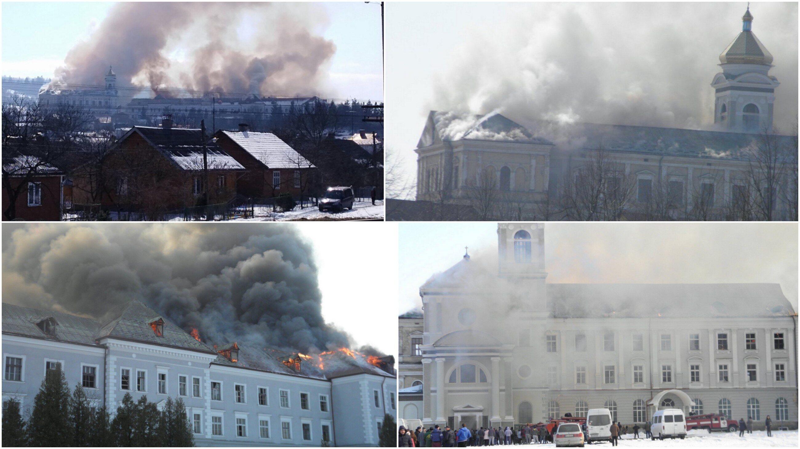 Pożar w dawnym kolegium ojców Jezuitów w Chyrowie