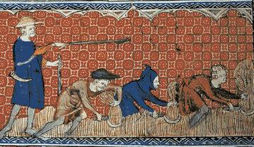 Praca na polu, miniatura z XIV wieku.