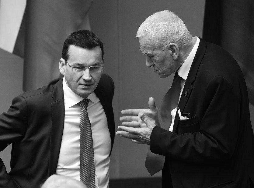 Premier Mateusz Morawiecki i jego ojciec, marszałek senior Kornel Morawiecki