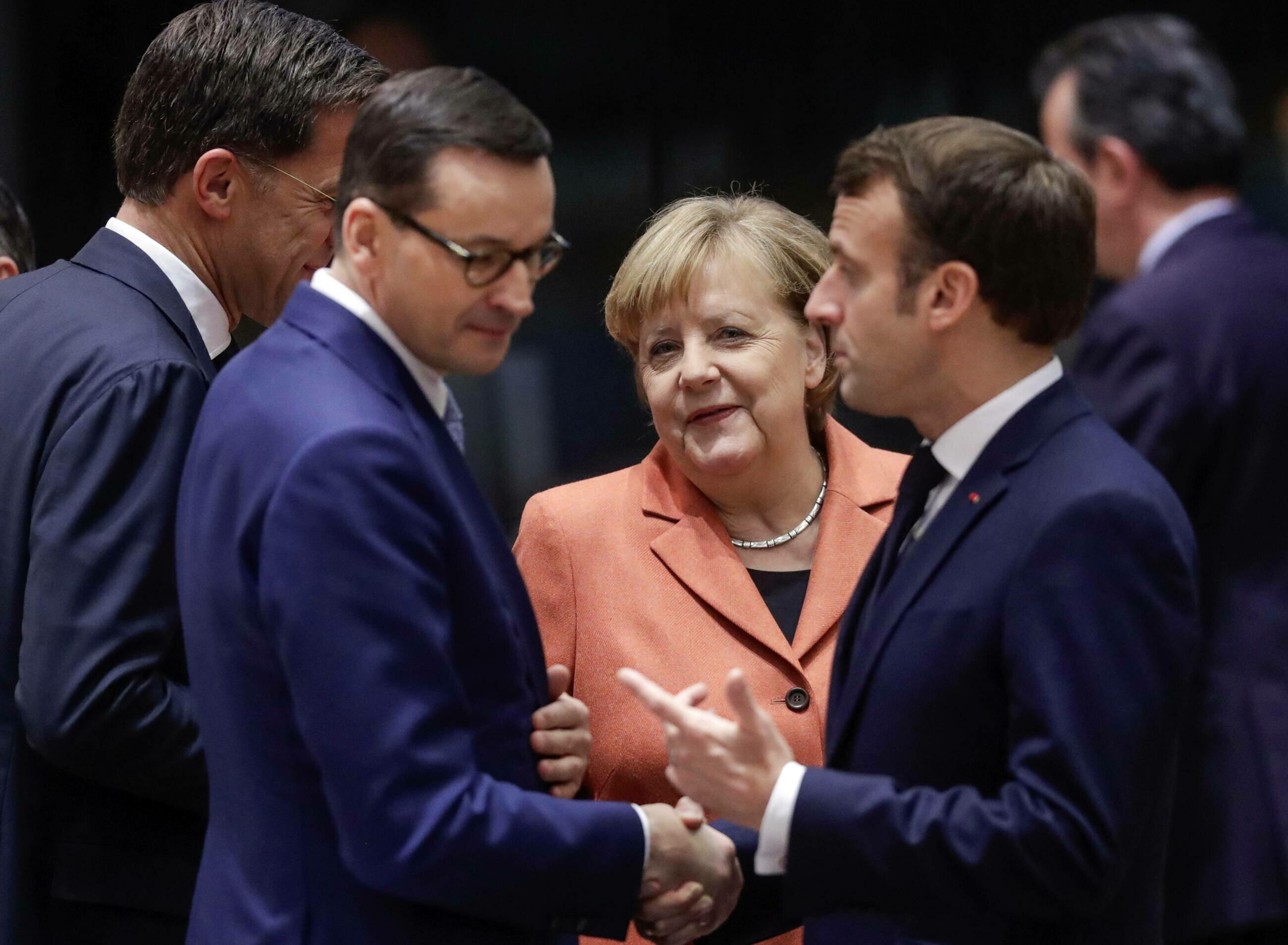 Premier Mateusz Morawiecki, kanclerz Niemiec Angela Merkel i prezydent Francji Emmanuel Macron.