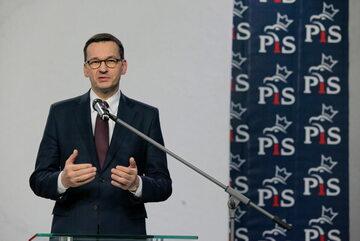 Premier Mateusz Morawiecki podczas ogłaszania składu rządu