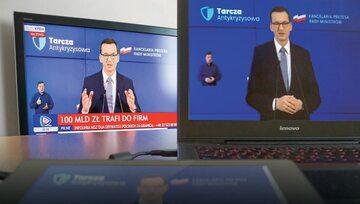 Premier Mateusz Morawiecki podczas prezentacji Tarczy Antykryzysowej