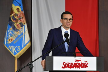 Premier Mateusz Morawiecki podczas spotkania rocznicowego. Obchody 41. rocznicy podpisania Porozumień Sierpniowych. Gdańsk, 31.08.2021