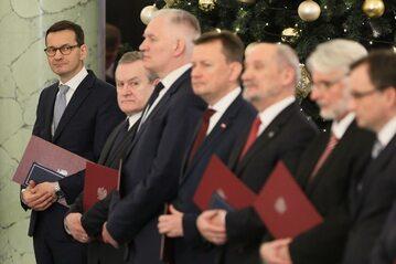 Premier Mateusz Morawiecki podczas uroczystości zaprzysiężenia rządu