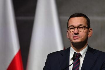 Premier Mateusz Morawiecki przemawia podczas uroczystych obchodów 81. rocznicy wybuchu II Wojny Światowej w Wieluniu.