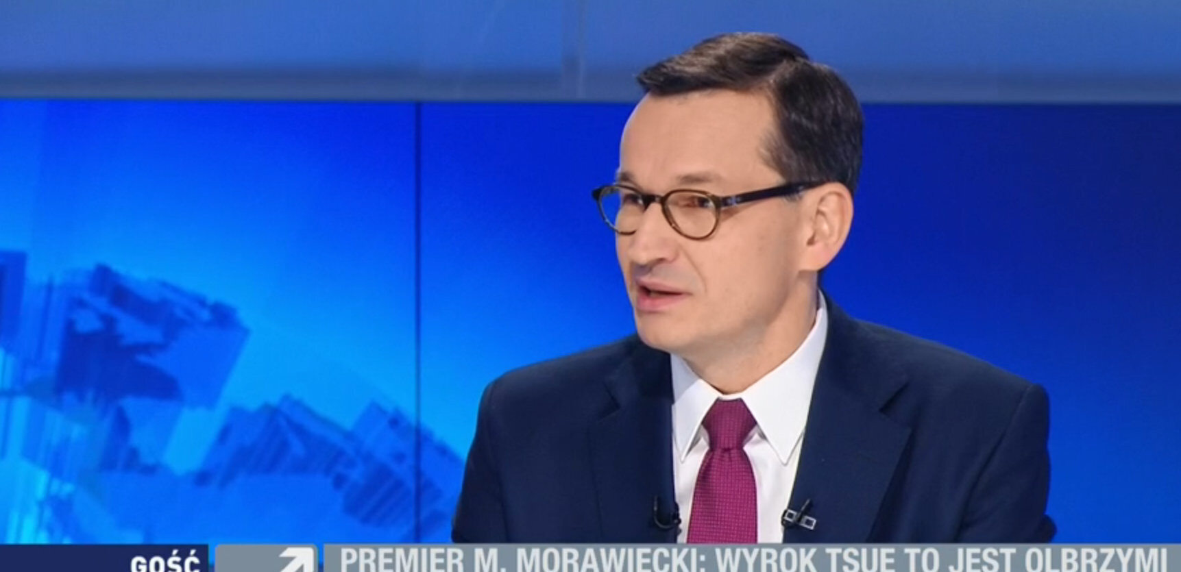 Premier Mateusz Morawiecki w studiu Polsat News