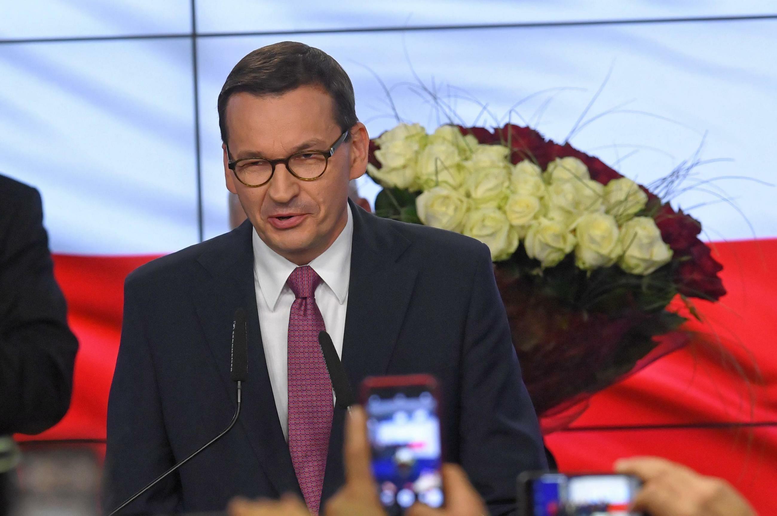 Premier Mateusz Morawiecki, wieczór wyborczy PiS