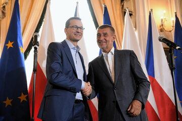 Premier RP Mateusz Morawiecki oraz premier Czech Andrej Babis