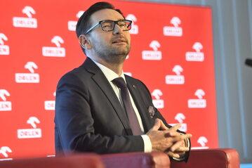 Prezes PKN Orlen Daniel Obajtek podczas konferencji prasowej w Gdańsku