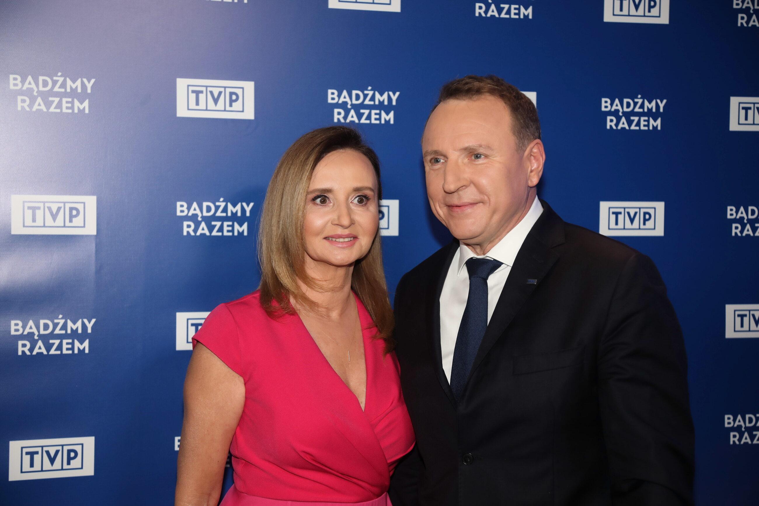 Prezes TVP Jacek Kurski (P) z żoną Joanną Kurską