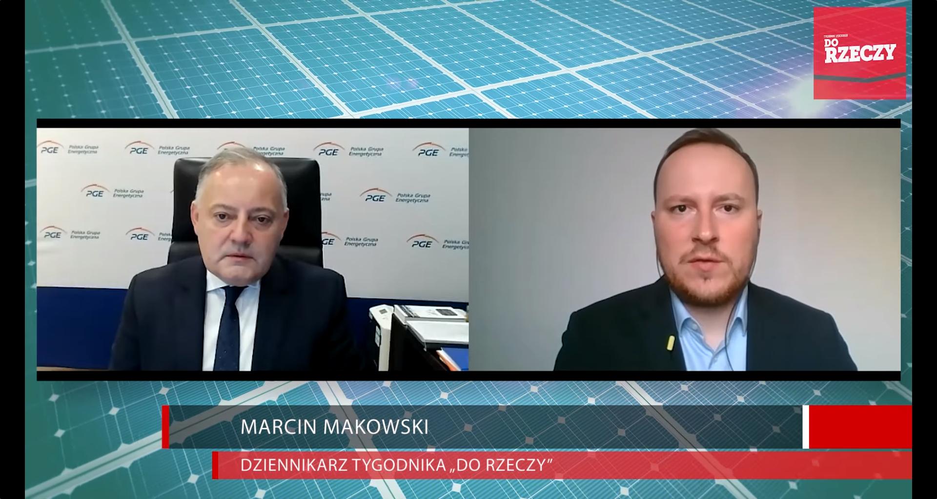 """Prezes Zarządu PGE, Wojciech Dąbrowski i Marcin Makowski, dziennikarz Tygodnia """"Dorzeczy"""""""